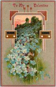 postcard To My Valentine - flowers forget-me-not  - embossed - posted 1909
