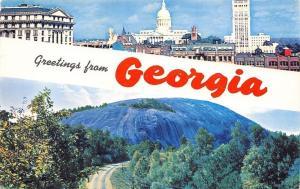 Georgia~State Banner Greetings~Atlanta Capitol Skyline~Stone Mountain~1960s PC
