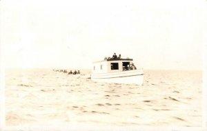 RPPC Houghton Lake, Michigan Boats Roscommon County 1935 Vintage Postcard