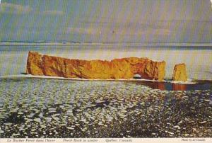 Canada Quebec Perce Rock In Winter