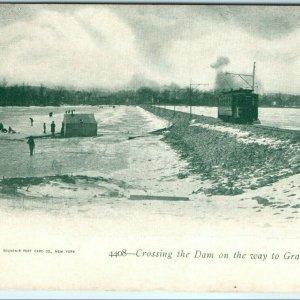 1900s Davenport Iowa Electric Tram Trolley Dam Photo Ice Fishing Antique NICE A7