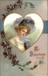Valetine - Beautiful Woman in Fancy Purple Hat c1910 Postcard