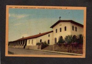 CA San Luis Obispo Mission de Toloso California Linen Postcard