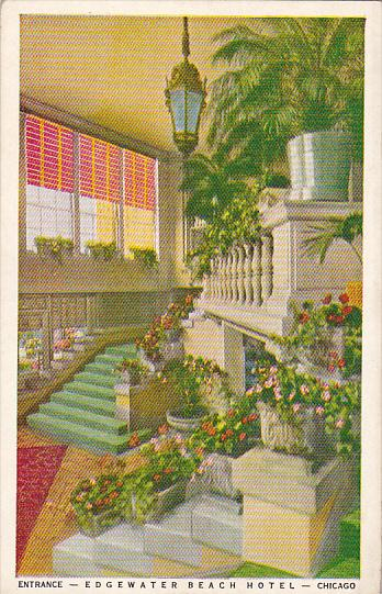 Entrance Edgewater Beach Hotel Chicago Illinois 1954