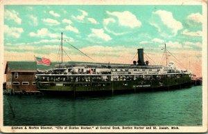 Bateau Vapeur City Of Benton Port Graham & Morton Ligne Navire à Unp 1920s