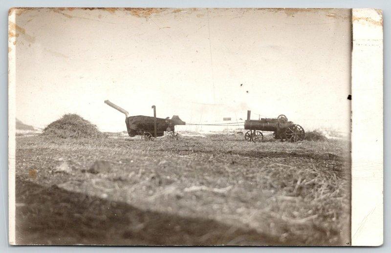 Real Photo Postcard~Hay Farm Machinery~See Smoke? Real Steam Engine~c1910 RPPC