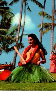 Hawaii Honolulu Kodak Hula Show Beautiful Hula Girl With Pu Ili Bamboo Rhythm...