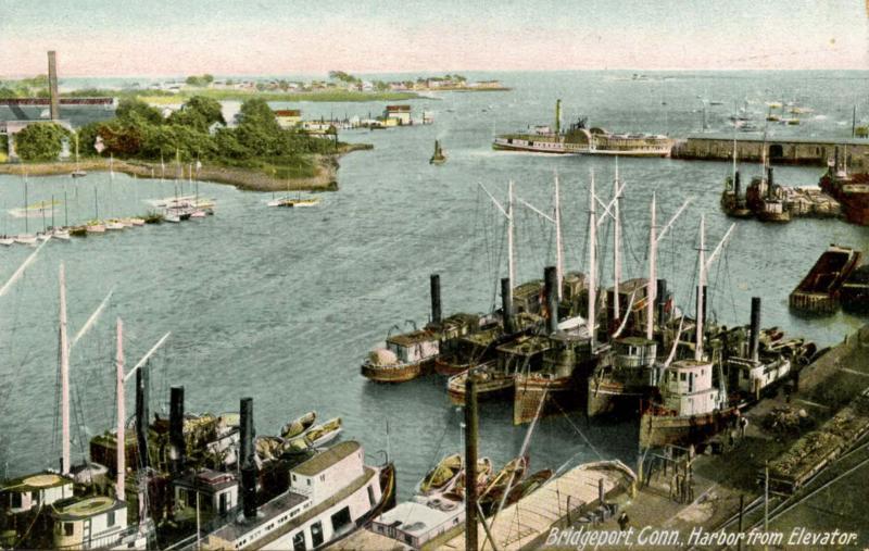 CT - Bridgeport. Harbor from Elevator