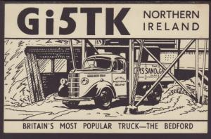 QSL Gi5TK Northern Ireland,Truck Postcard