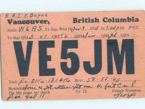 1930s QSL RADIO CARD Vancouver British Columbia BC AH3144