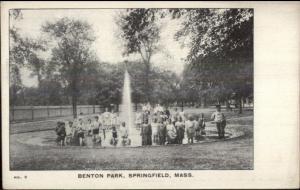 Springfield MA Benton Park Kids Williams Typewriter Adv Promo Postcard c1905