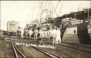 Cuba Ships RR Car Dock Workers Punta Gorda Nuevitas c1920 Real Photo Postcard