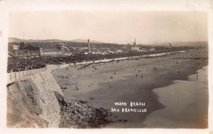 Ocean Beach, San Francisco, California, Early Real Photo Postcard, Unused