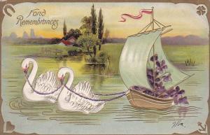 Fond Remembrances White Swans Pulling Sailboat
