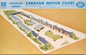 Vancouver BC Caravan Motor Court Hotel Burnaby Unused Vintage Postcard D67