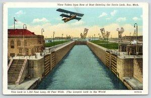 Soo-Sioux Ste Marie Michigan~Biplane Flies Over Longest Lock in the World~1940s