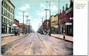 South Chicago, Illinois Postcard COMMERCIAL AVENUE Looking North Dated 1908