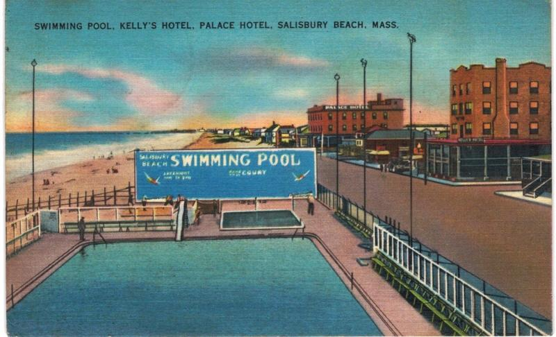 Salisbury Beach Swimming Pool Kelly 39 S Hotel Palace 1940 Linen Ma Hippostcard
