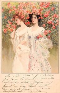 Young Women Ladies Dresses, Roses Flowers 1902 art nouveau