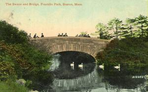 MA - Boston. Franklin Park, Swans and Bridge