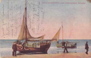Dutch Fishing Boats at Scheveningen Netherlands pm 1910