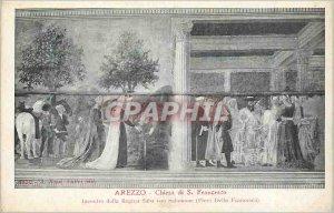 Old Postcard Arezzo Chiesa di S Francesco della Regina Saba Incontro con salo...