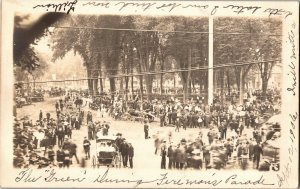 The Green During Fireman's Parade August 12 1906 Westfield MA Vtg Postcard U11