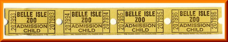 4-Vintage Belle Isle Zoo Tickets, Detroit, Michigan/MI, Child Admission