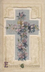 Early Easter greetings fantasy postcard floral cross embossed