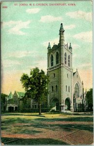1910s Davenport, Iowa Postcard ST. JOHN'S M.E. CHURCH Building View - Unused