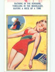 Bamforth Risque Comic SEXY GIRL SUN TANNING ON BEACH AB6897