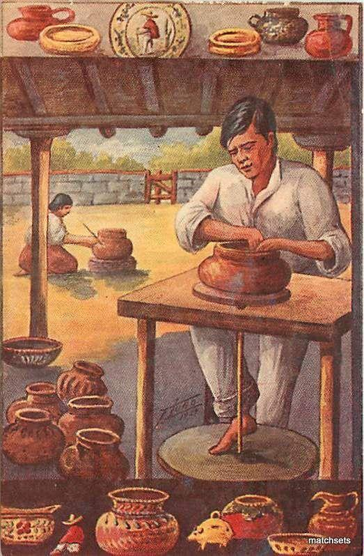 1950's MEXICO Pottery Making Atisan occupation 8066 postcard