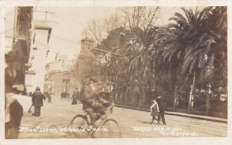 RP: Street Scene , VALENCIA , Spain, 1920, Boy on Bicycle