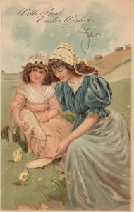 EASTER, 1900-10s; Mother & Daughter feeding sheep & chicks, PFB 6913