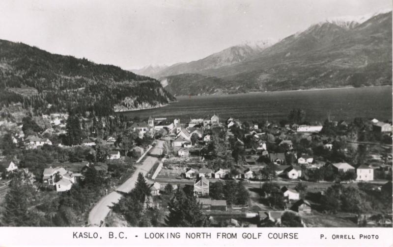 Kaslo BC Looking North From Golf Course Slocan Valley Real Photo Postcard E6