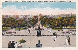 Iowa Des Moines Birds Eye View Looking Down Locust Street From Capitol
