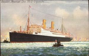 Swedish American Lines Steamship M/S Gripsholm & Tug New York City PC