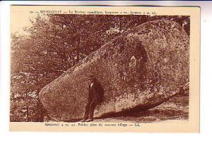 Man Leaning on Huge Rock, Huelgoat France,
