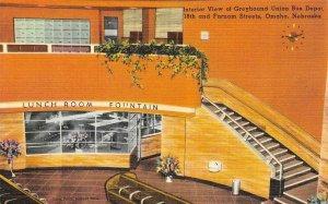 OMAHA, NE Nebraska GREYHOUND UNION BUS DEPOT~Interior LUNCH ROOM c1940s Postcard