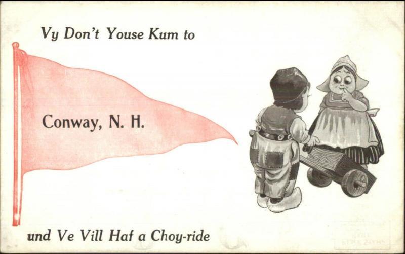 Conawy NH Dutch Kids & Pennant c1910 Postcard