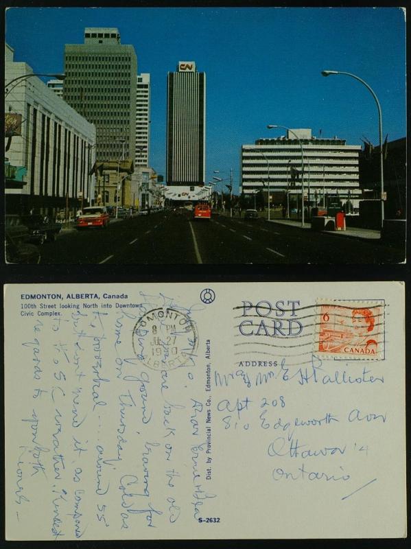 100th Street North to Downtown, Edmonton Alb to Ottawa Ont