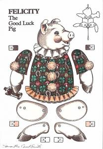 Flying Rabbit 1992 Felicity Good Luck Pig Samantha Carol Smith Cut-Out Postcard