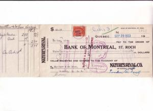 Cheque, Bank of Montreal, 1933, Nature's Rival Quebec Foundation Garments,