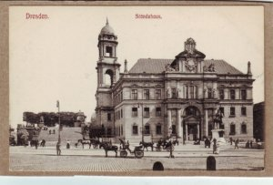 P1343 postcard unused view horse & wagons dresden standehaus germany