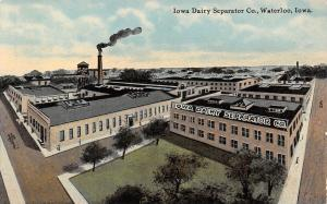 Waterloo Iowa Dairy Separator Company~Smokestack Blowing~Water Tower c1910