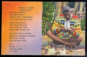 'Seminole Lament' Poem unused c1930's