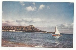 WAIKIKI, Hawaii, 1940-60s; Diamond Head, Sail Boat
