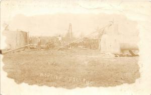 F13/ Occupational RPPC Postcard c1910 Fire Disaster Oil Well Pipeline Crew 19