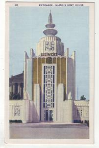 P1130 1933 chicago worlds fair the illinois host building unused postcard