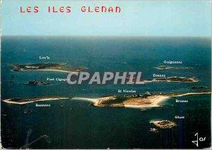 Postcard Modern Colors in Brittany islands Glenan off Concarneau